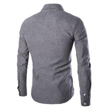 Stripe and Letters Print Turn-Down Collar Long Sleeve Men's Shirt - GRAY 2XL