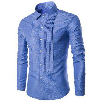Wrinkle Design Polka Dot Turn-Down Collar Long Sleeve Men's Shirt