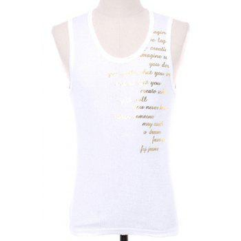 Slimming Letters Printed Men's Pullover Gym Tank Top - WHITE WHITE