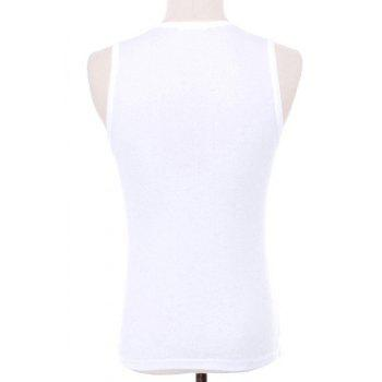 Slimming Letters Printed Men's Pullover Gym Tank Top - L L