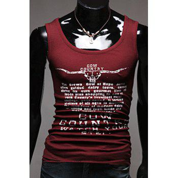 Slim Fit Men's Pullover Letters Printed Gym Tank Top - WINE RED WINE RED