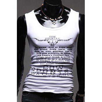 Slim Fit Men's Pullover Letters Printed Gym Tank Top - WHITE WHITE