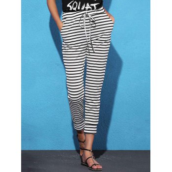 Leisure Style Mid Waist Striped Drawstring Women's Ninth Pants