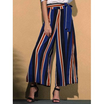 Trendy Mid Waist Colorful Striped High Slit Loose Women's Pants