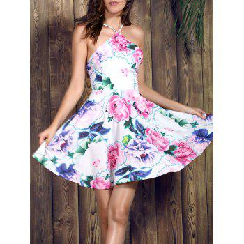 Graceful Spaghetti Strap Sleeveless Floral Print Backless Women's Dress