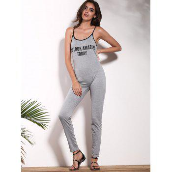 Stylish Women's Strappy Letter Print Jumpsuit - GRAY S