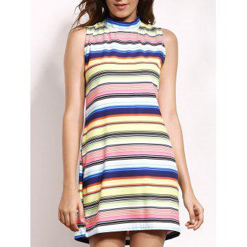 Stand Up Collar Sleeveless Colorful Stripe Mini Dress