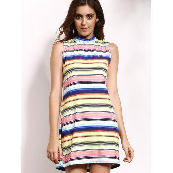 Leisure Style Sleeveless Stand-Up Collar Mini Colorful Stripe Dress For Women - COLORMIX L