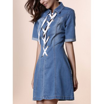 Stylish Shirt Collar Short Sleeve Lace-Up Denim Women's Dress