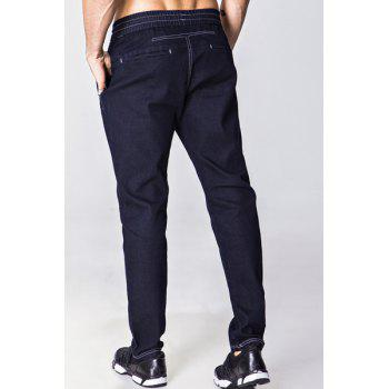 Narrow Feet Bleach Wash Lace-Up Men's Jeans - DEEP BLUE M
