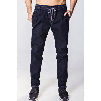 Narrow Feet Bleach Wash Lace-Up Men's Jeans