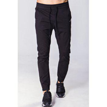 Solid Color Embroidered Zipper Pocket Lace-Up Beam Feet Men's Pants