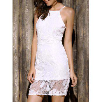 Elegant Spaghetti Strap Sleeveless Lace Spliced Hollow Out Bodycon Mini Women's Dress