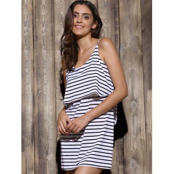 Leisure Style Spaghetti Strap Sleeveless Striped Flounce Backless Women's Dress