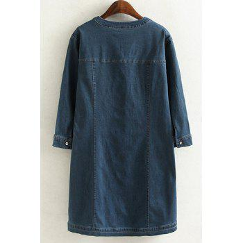 Brief Style V Neck 3/4 Sleeve Blue Denim Loose-Fitting Plus Size Women's Dress - 2XL 2XL