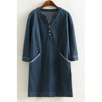 Brief Style V Neck 3/4 Sleeve Blue Denim Loose-Fitting Plus Size Women's Dress
