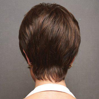 Graceful Side Bang Capless Trendy Straight Short Women's Real Natural Hair Wig -  AUBURN BROWN