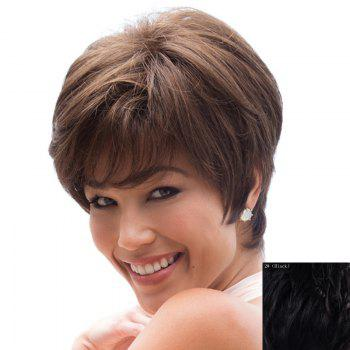 Graceful Side Bang Capless Trendy Straight Short Women's Real Natural Hair Wig - BLACK BLACK