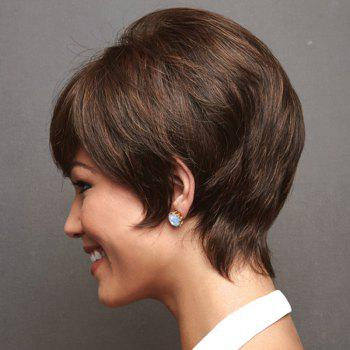 Graceful Side Bang Capless Trendy Straight Short Women's Real Natural Hair Wig -  BLACK