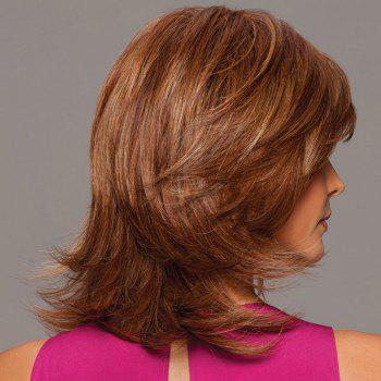 Human Hair Noble Side Bang Fluffy Medium Layered Natural Straight Wig -  AUBURN BROWN