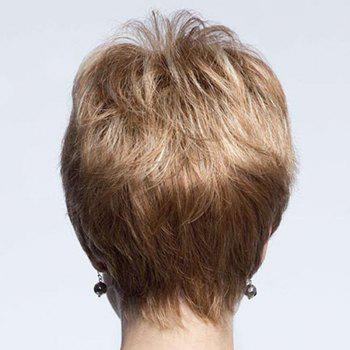 Dynamic Side Bang Capless Shaggy Short Natural Straight Human Hair Wig For Women -  DARK ASH BLONDE