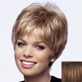 Dynamic Side Bang Capless Shaggy Short Natural Straight Human Hair Wig For Women - AUBURN AUBURN