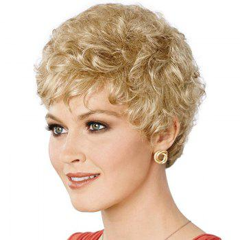 Fluffy Curly Short Attractive Side Bang Real Natural Hair Wig For Women -  BLACK
