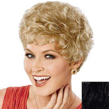 Fluffy Curly Short Attractive Side Bang Real Natural Hair Wig For Women - BLACK BLACK