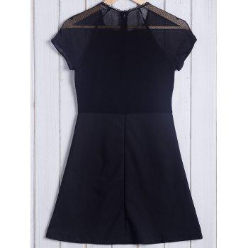 Trendy Short Sleeve Round Collar Pure Color Lace Spliced Women's Dress - BLACK L