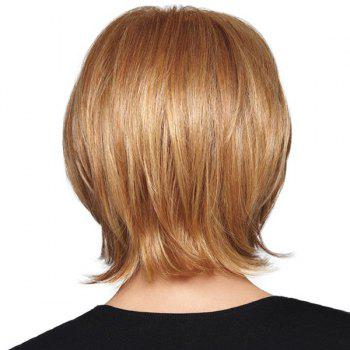 Graceful Short Side Bang Capless Fluffy Natural Straight Women's Real Human Hair Wig -  BROWN/BLONDE