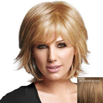 Graceful Short Side Bang Capless Fluffy Natural Straight Women's Real Human Hair Wig - BROWN WITH BLONDE BROWN/BLONDE