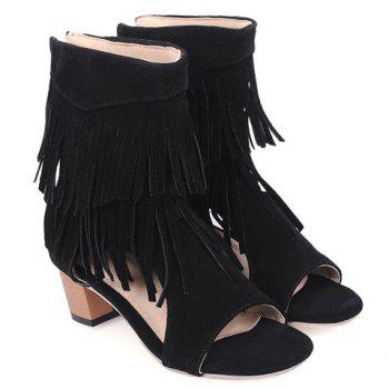 Fashionable Chunky Heel and Fringe Design Women's Sandals - BLACK BLACK
