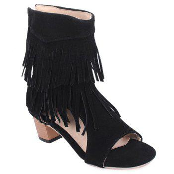 Buy Fashionable Chunky Heel Fringe Design Women's Sandals BLACK