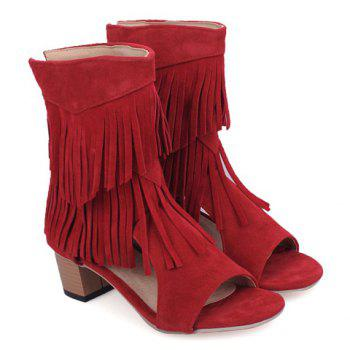 Fashionable Chunky Heel and Fringe Design Women's Sandals - RED RED