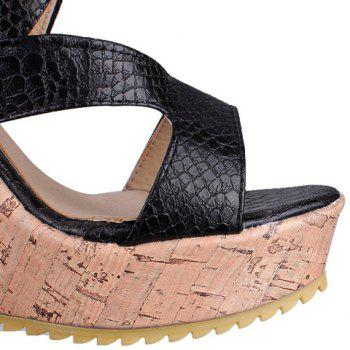 Stylish Embossing and Platform Design Women's Sandals - 37 37