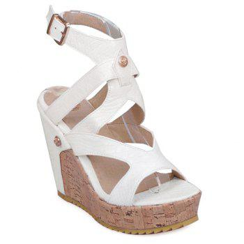 Stylish Embossing and Platform Design Women's Sandals - WHITE 39