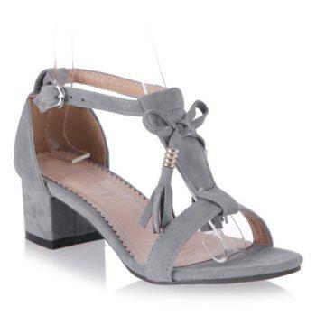 Trendy T-Strap and Tassels Design Women's Sandals - GRAY 39