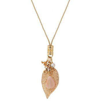 Faux Crystal Leaf Flower Shape Pendant Necklace
