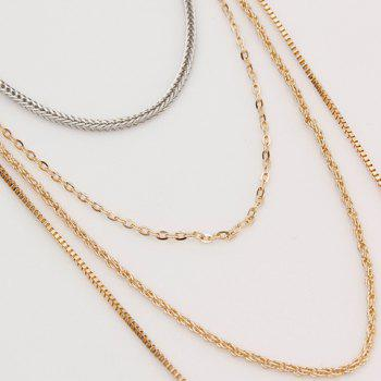 Multilayer Chain Faux Gem Rhinestoned Decorated Necklace - COLORMIX