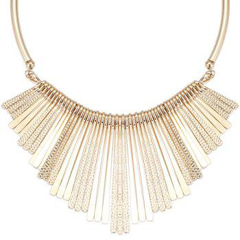 Long Metal Bars Fringed Embossed Necklace