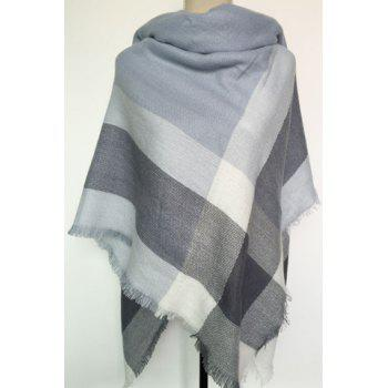 Chic Fringed Embellished Tartan Pattern Women's Quadrate Warmth Pashmina