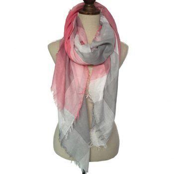 Chic Fringed Embellished Tartan Pattern Women's Voile Scarf