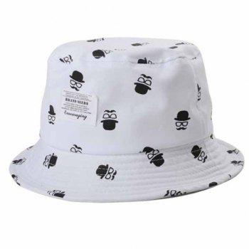 Chic Letters Applique Mustache Glasses Fedoras Pattern Women's Bucket Hat