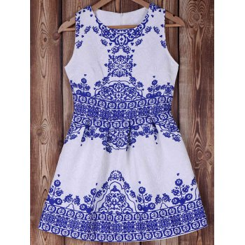 Blue and White Porcelain Pattern Summer Dress