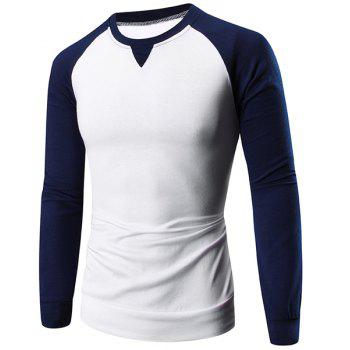 Classic Color Block Slimming Round Neck Raglan Sleeve Men's T-Shirt