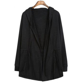 Front Pocket Drawstring Waist Solid Color Hooded Long Sleeves Men's Cloak Jacket