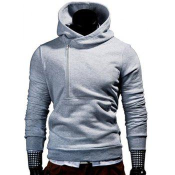 Half Zipper Front Pocket Letters Print Hooded Long Sleeves Men's Hoodie