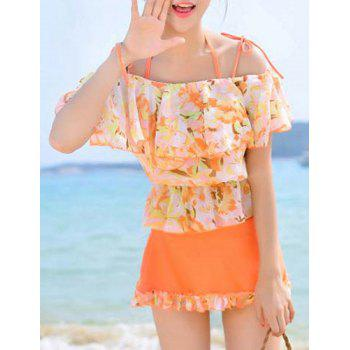 Sweet Short Sleeves Floral Print  Flouncing Four-Piece Women's Bikini Set