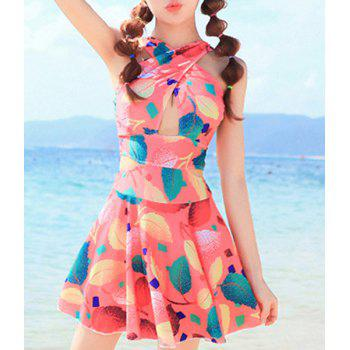 Fashionable V Neck Sleeveless Cut Out Leaves Pattern Women's Swimsuit