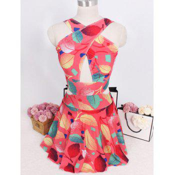 Fashionable V Neck Sleeveless Cut Out Leaves Pattern Women's Swimsuit - RED M